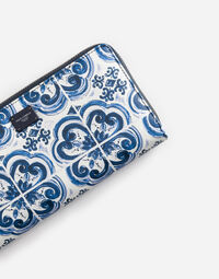 ZIP-AROUND WALLET IN PRINTED DAUPHINE LEATHER