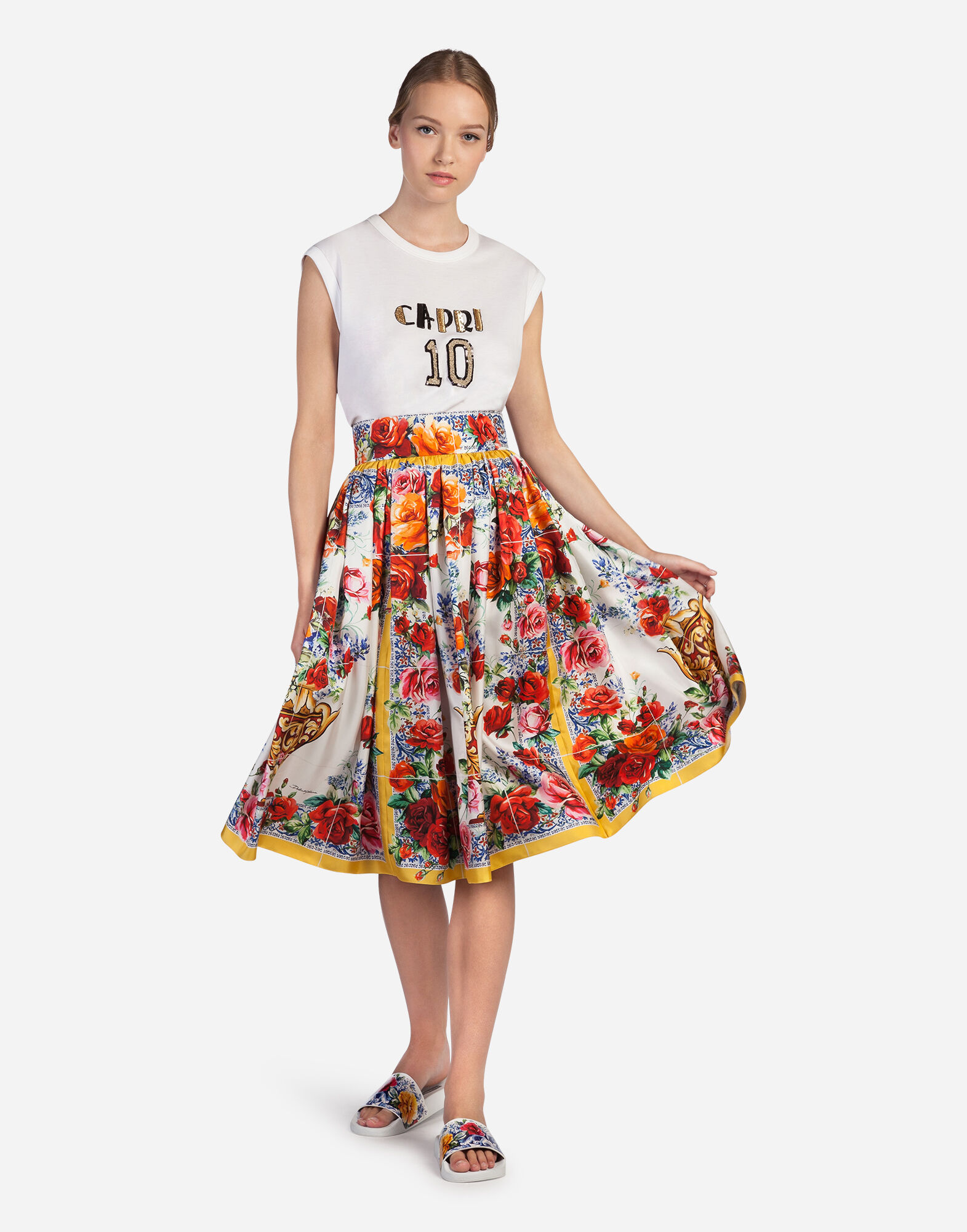 CIRCLE PRINTED SILK SKIRT