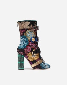 JACQUARD ANKLE BOOTS WITH JEWEL BUCKLES