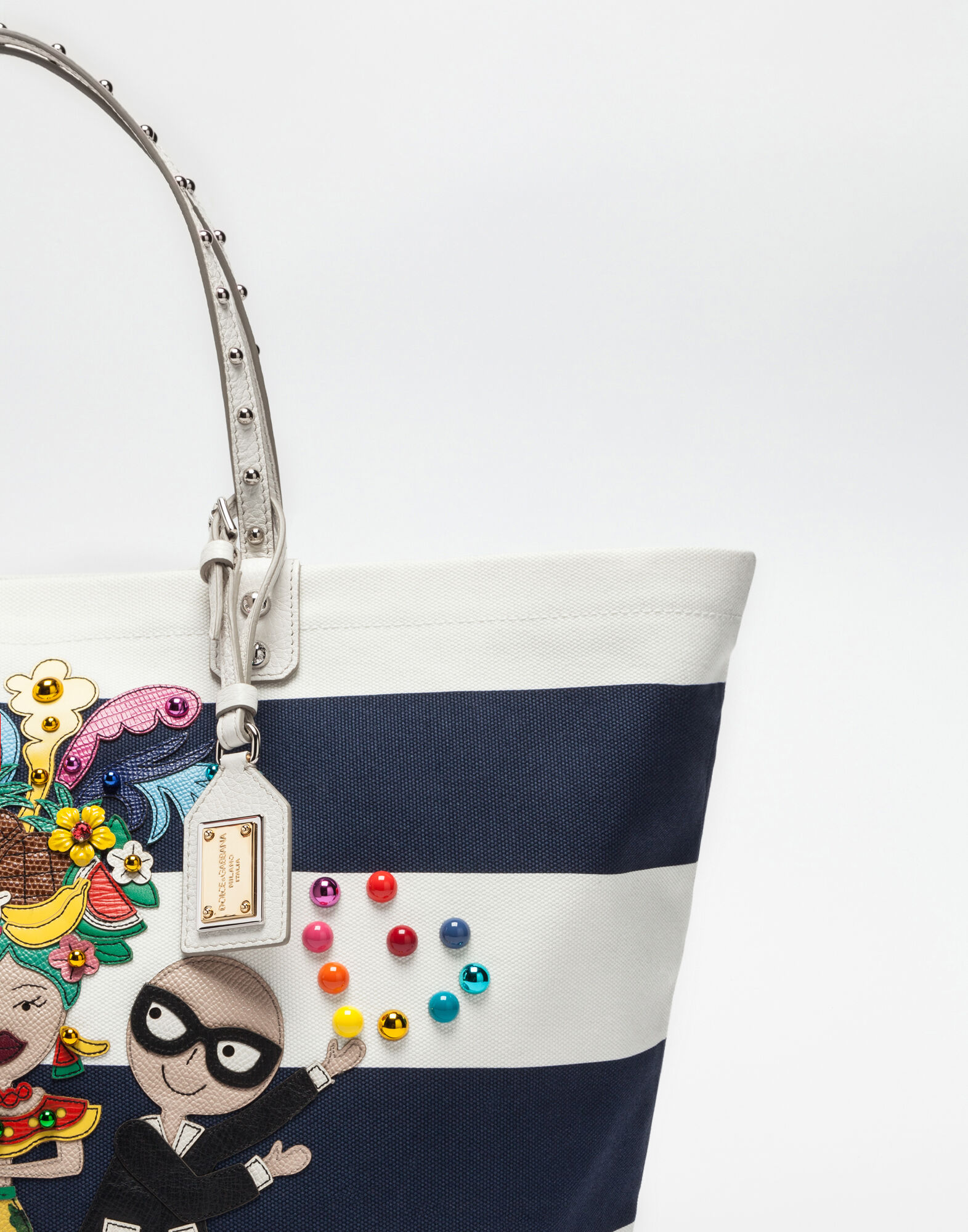 Dolce&Gabbana BEATRICE BAG IN PRINTED CANVAS WITH PATCHES OF THE DESIGNERS