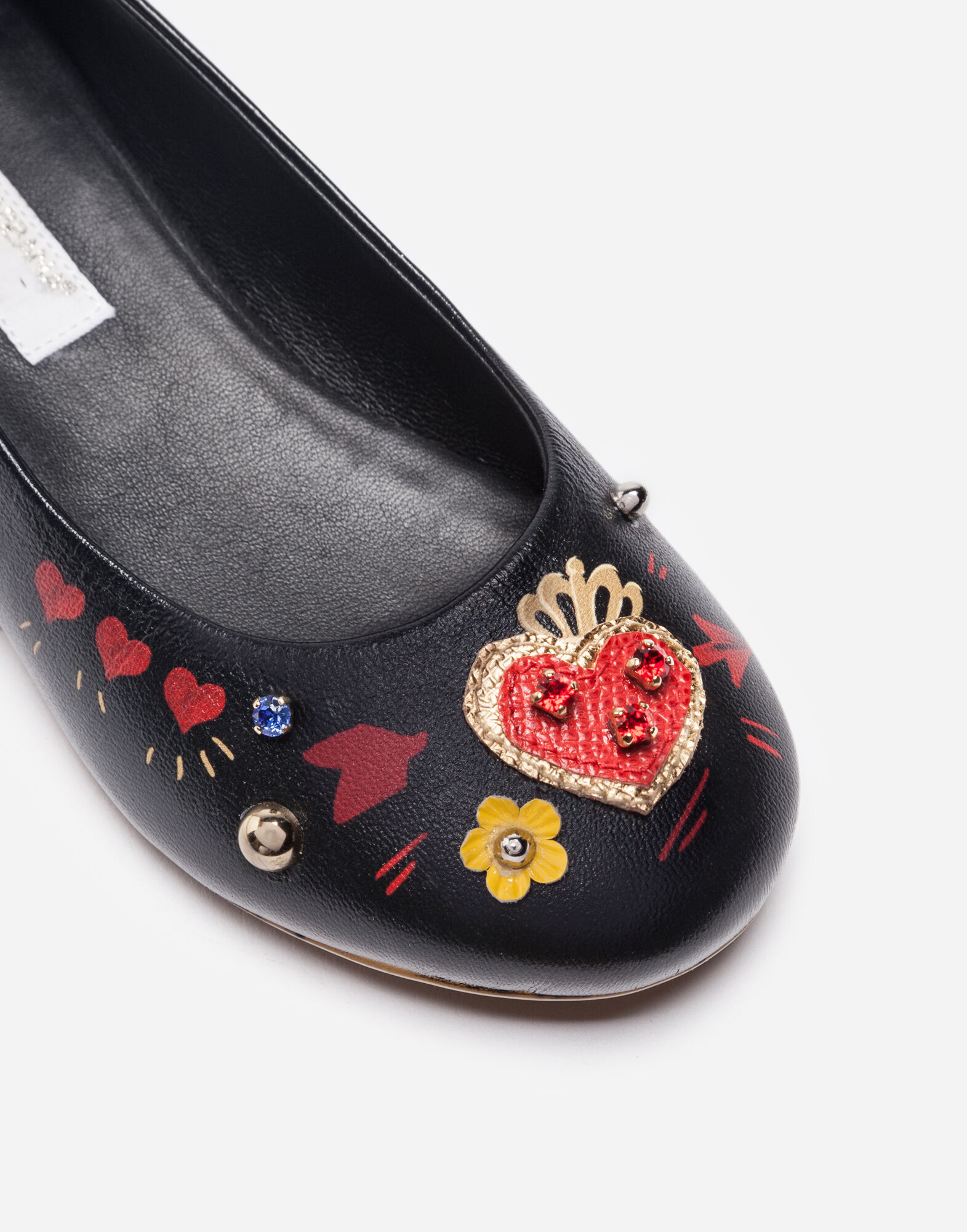 LEATHER BALLET FLATS WITH APPLIQUÉ