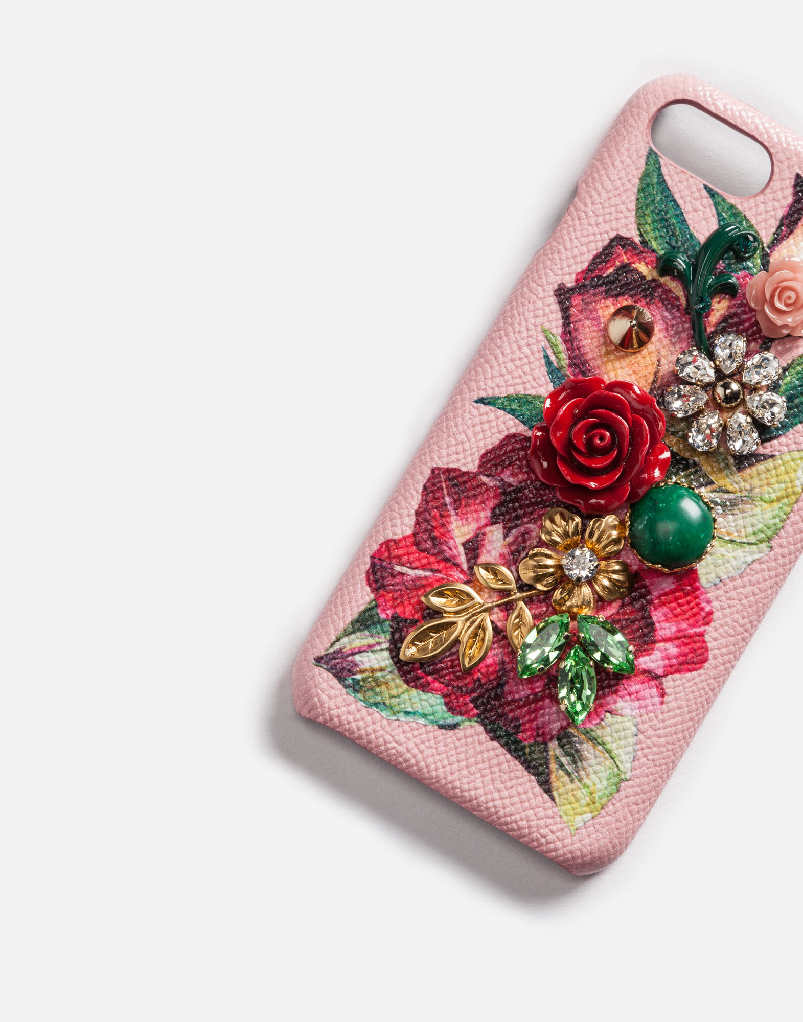 PRINTED LEATHER IPHONE 7 PLUS COVER WITH APPLIQUÉ