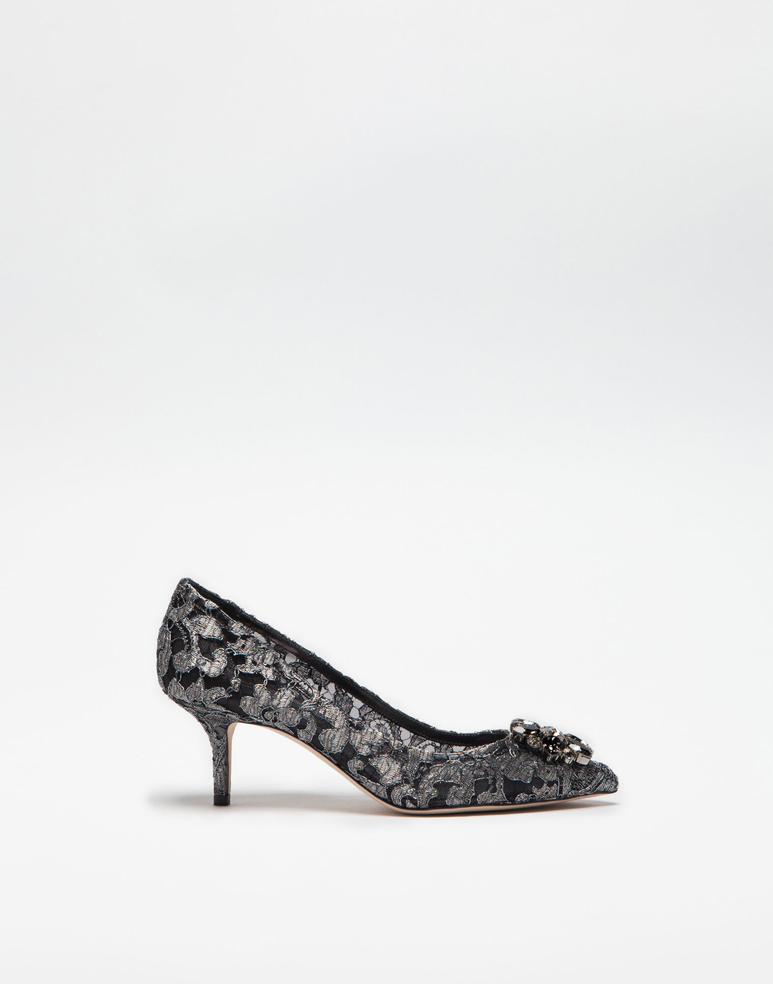PUMP IN TAORMINA LUREX LACE WITH CRYSTALS