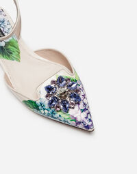 PRINTED LEATHER SLINGBACKS WITH BEJEWELED APPLIQUÉ
