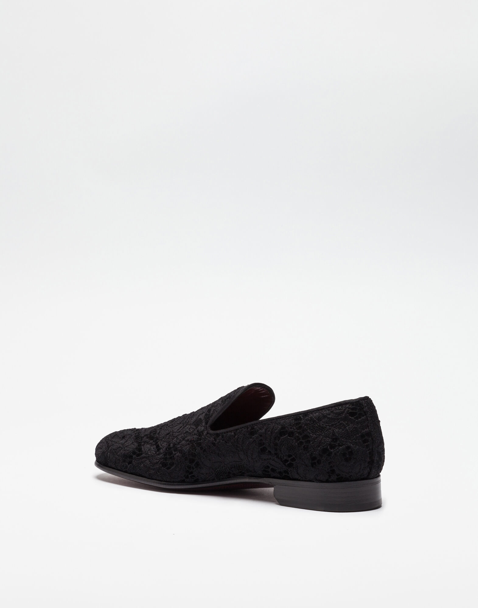 LACE COVERED VELVET SLIPPERS