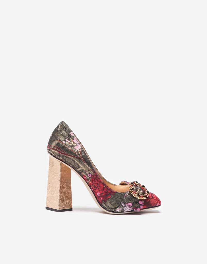 JACQUARD PUMPS WITH BEJEWELED BUCKLE