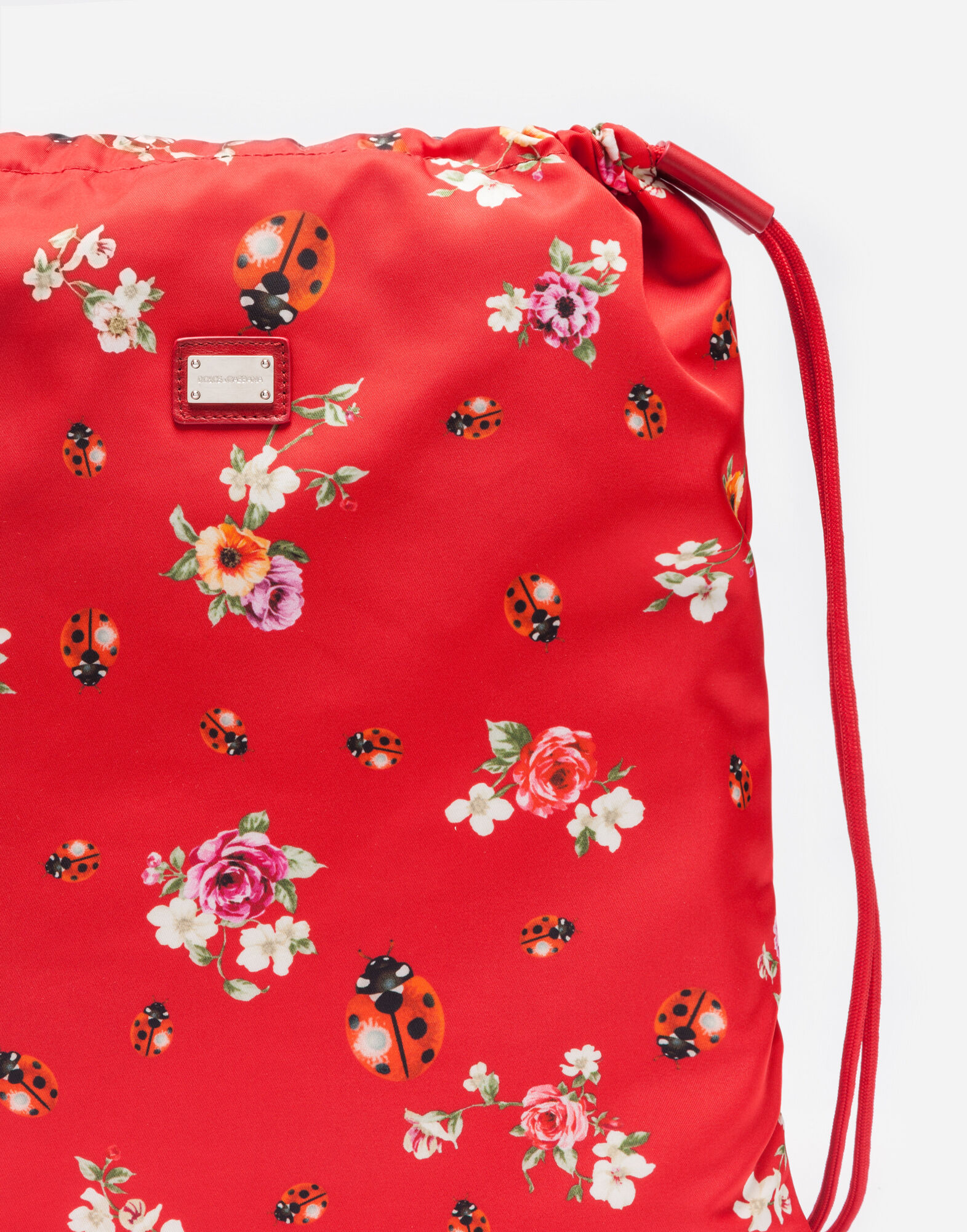 PRINTED NYLON BACKPACK WITH DRAWSTRING