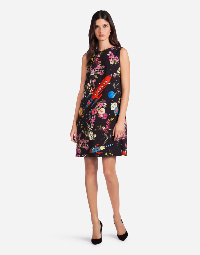 A-LINE DRESS IN PRINTED CADY