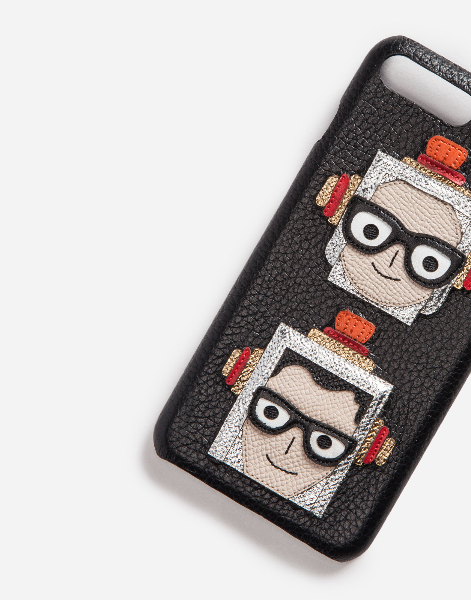Dolce&Gabbana IPHONE 7 PLUS COVER WITH PATCHES OF THE DESIGNERS