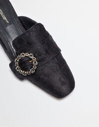 JACQUARD SLIPPERS WITH BEJEWELLED BUCKLE