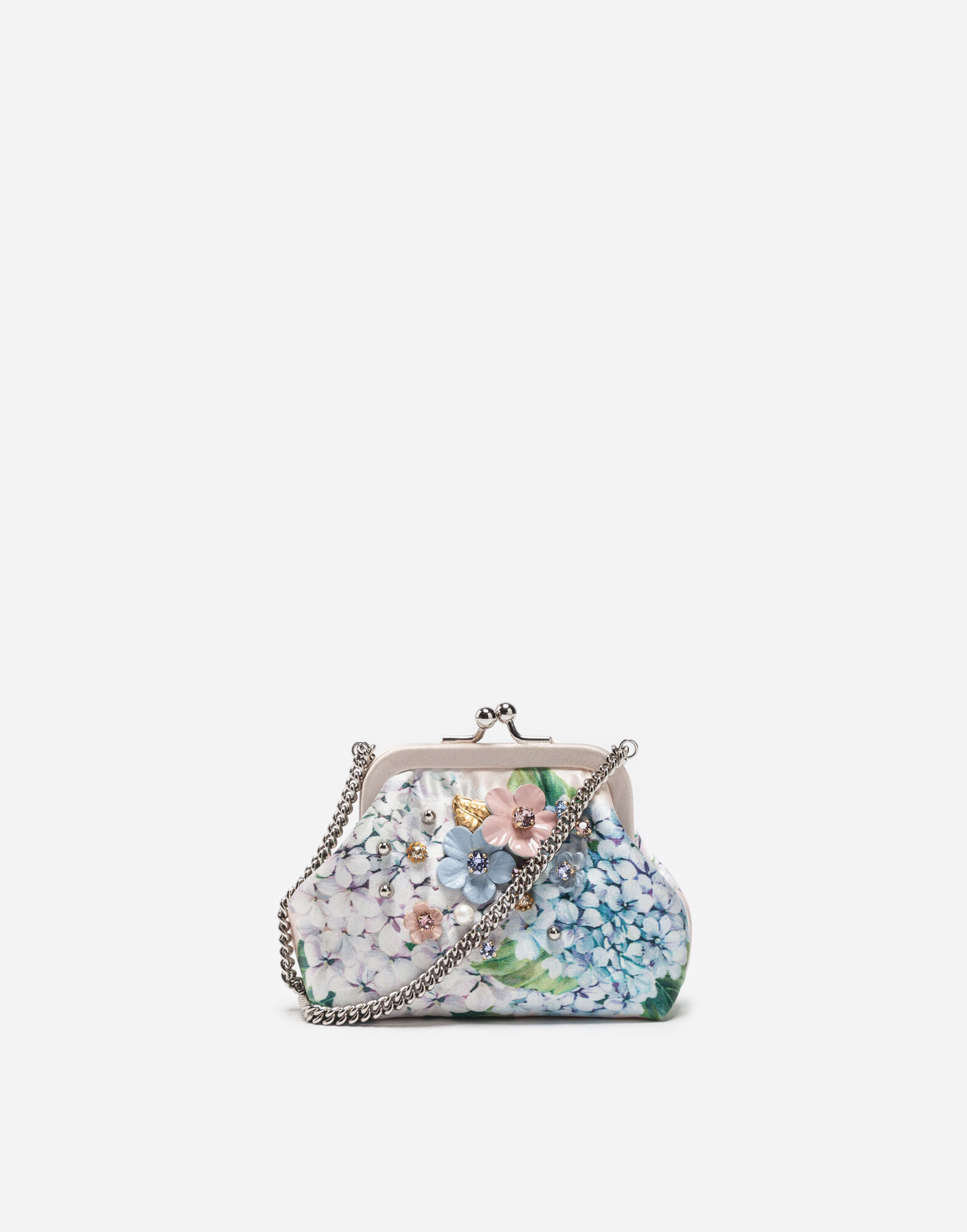 PRINTED SATIN BAG WITH APPLIQUÉ DETAILS