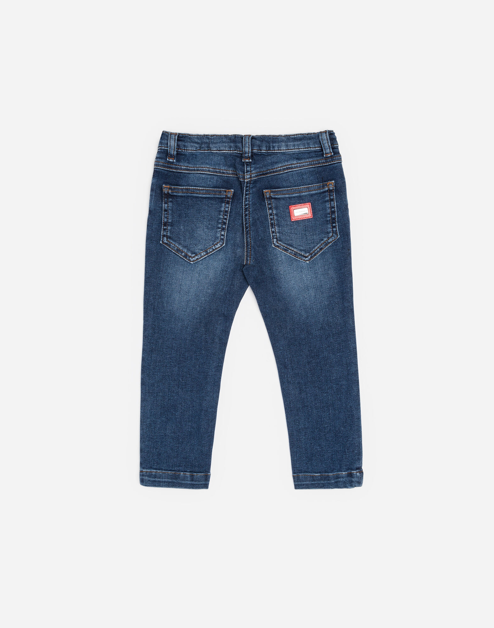 STRETCH JEANS WITH BRANDED PLATE