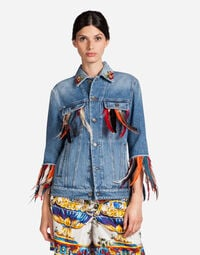 DENIM JACKET WITH PATCH AND JEWEL BUTTONS