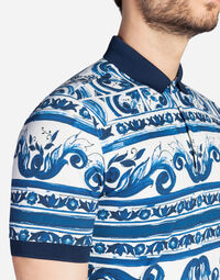 POLO IN PRINTED COTTON PIQUE
