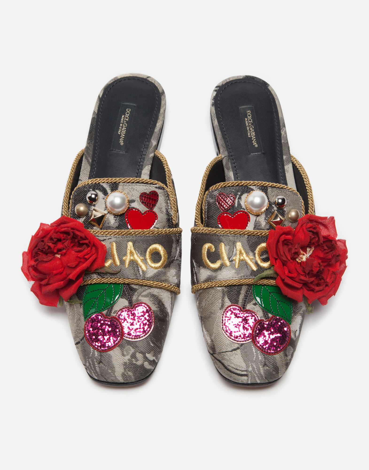 JACQUARD SLIPPERS WITH APPLIQUÉ DETAILS