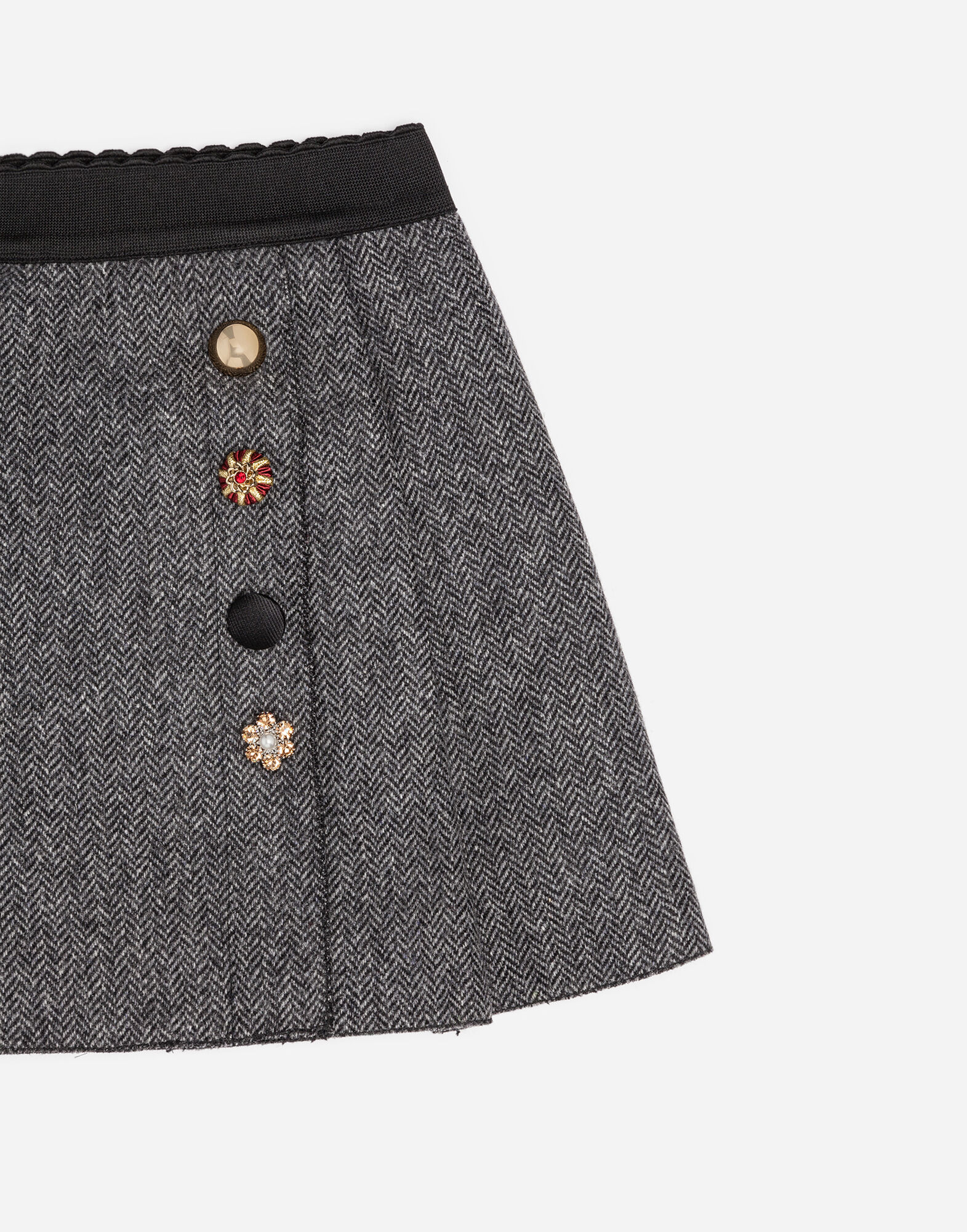 COTTON SKIRT WITH BEJEWELED BUTTONS