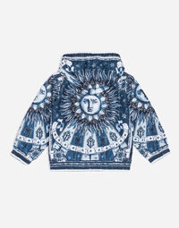 PRINTED NYLON BOMBER JACKET WITH HOOD