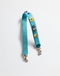 Dolce&Gabbana STRAP IN DAUPHINE LEATHER WITH APPLIQUÉS