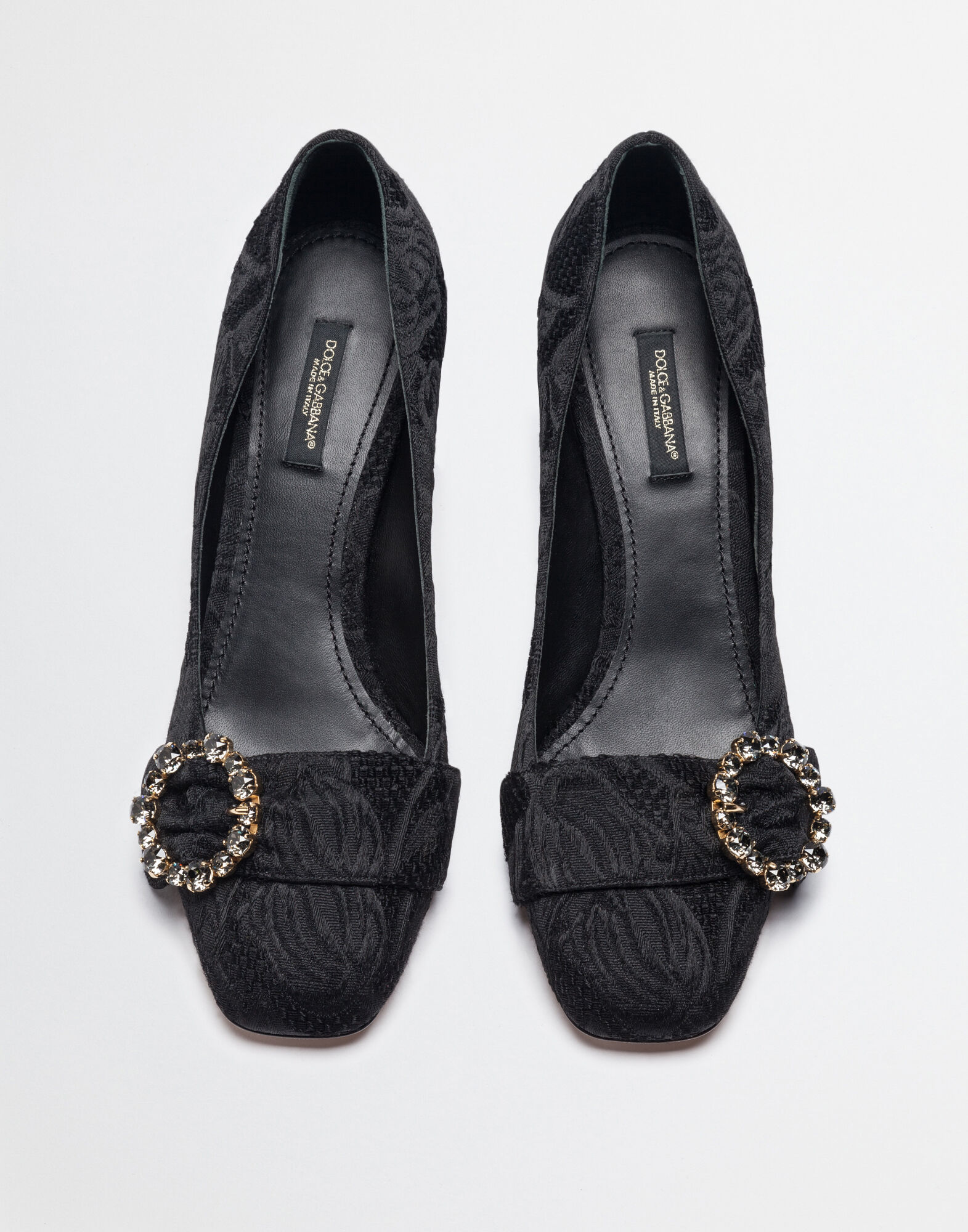 JACQUARD PUMPS WITH BEJEWELLED BUCKLE