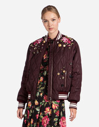 NYLON BOMBER JACKET WITH EMBROIDERY