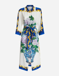 PRINTED SILK DRESS WITH WAIST BELT