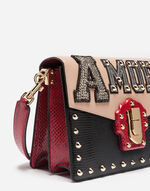 LUCIA SHOULDER BAG IN A MIXTURE OF LEATHERS WITH APPLIQUÉ DETAILS