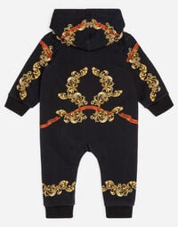 PRINTED COTTON FLEECE ONESIE