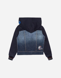 COTTON HOODIE WITH DENIM DETAIL