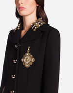 WOOL COAT WITH PATCH AND EMBROIDERY