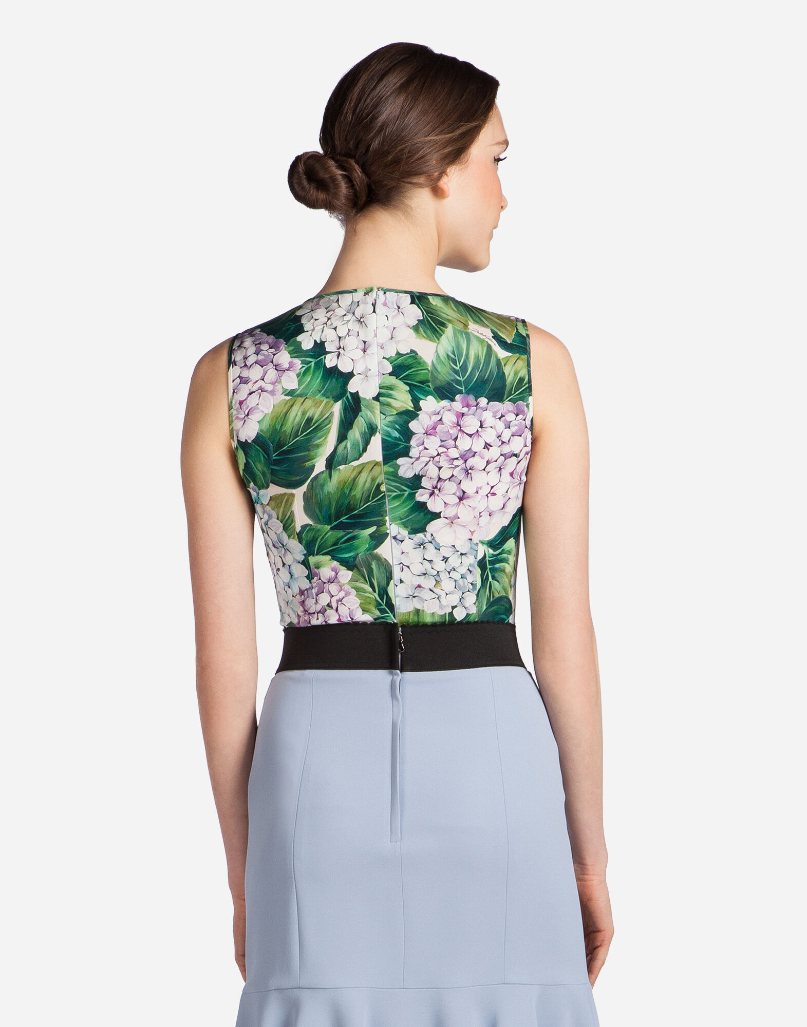 SLEEVELESS PRINTED SILK TOP