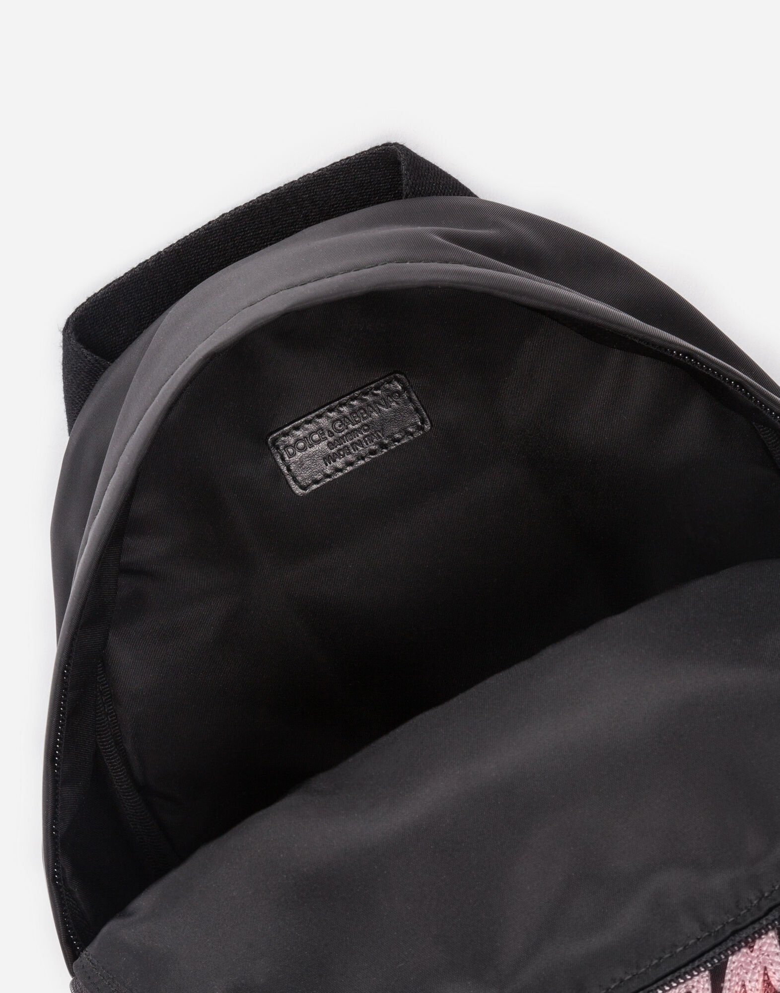 VELVET AND NYLON BACKPACK WITH PATCH