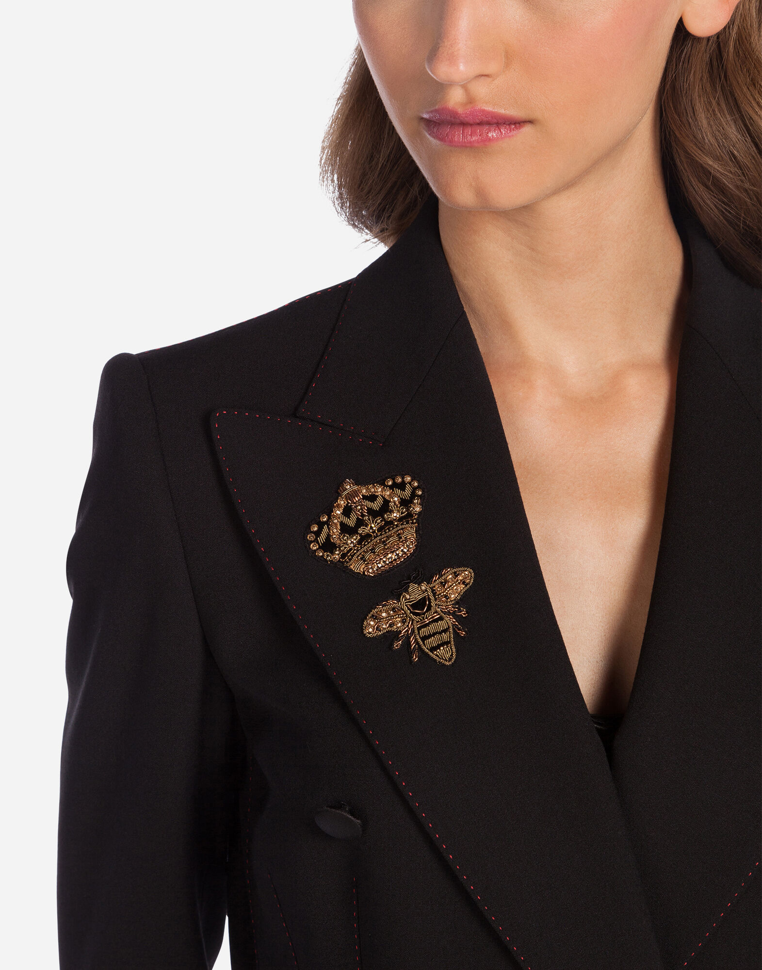 DOUBLE-BREASTED WOOL JACKET WITH PATCH