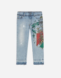 STRETCH JEANS WITH PATCHES AND EMBROIDERY