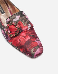 JACQUARD SLIPPERS WITH BEJEWELED BUCKLE