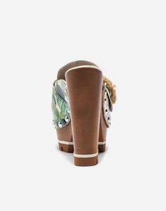 PRINTED LEATHER CLOGS