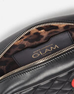 LEATHER GLAM BAG WITH PATCHES OF THE DESIGNERS