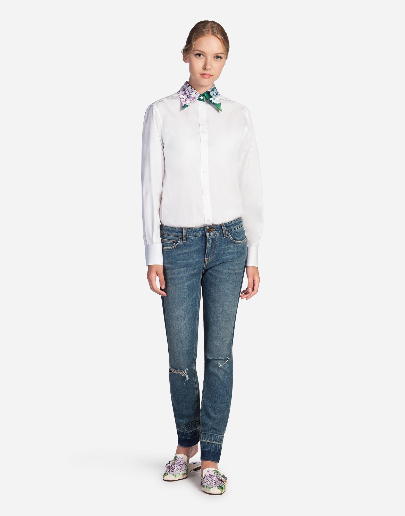 Dolce&Gabbana SHIRT IN COTTON WITH SILK COLLAR
