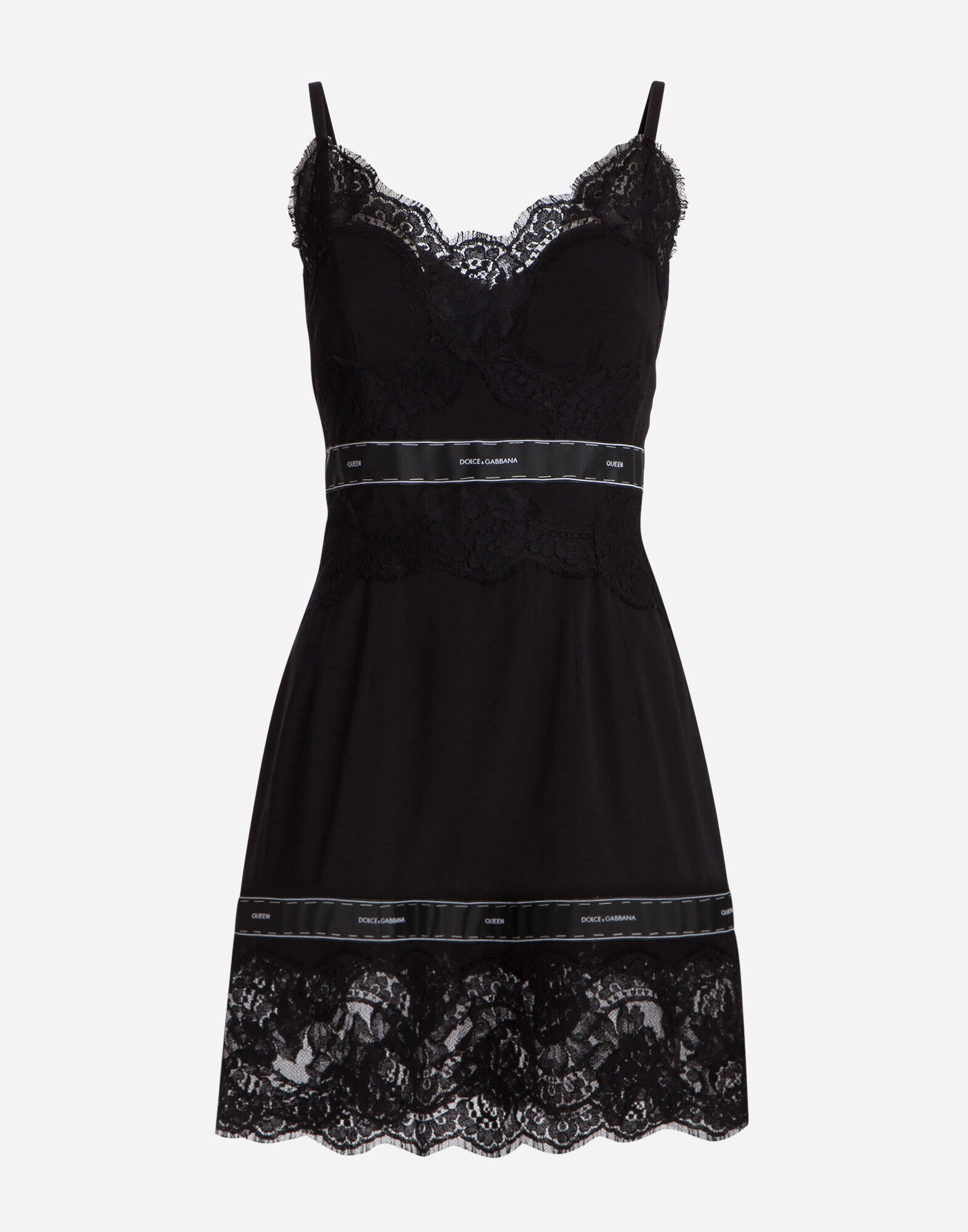 PRINTED SILK DRESS WITH LACE DETAILS
