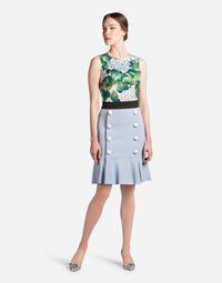 SKIRT IN CADY WITH DECORATIVE BUTTON