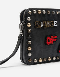 Dolce&Gabbana LEATHER POUCH WITH APPLIQUÉS