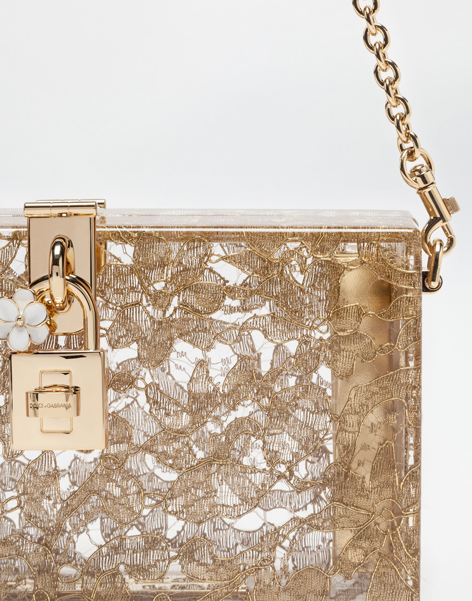 DOLCE BOX CLUTCH IN PLEXI AND LACE