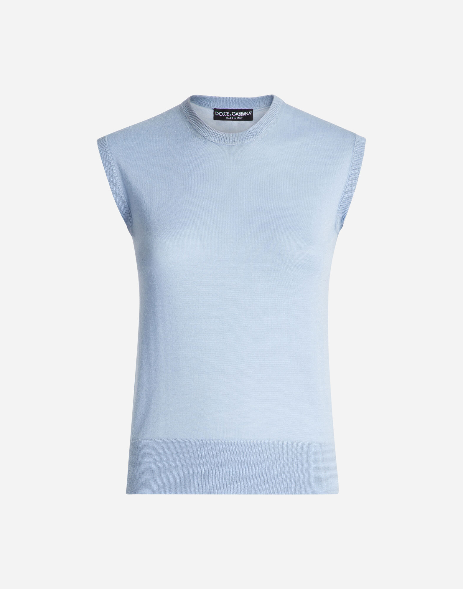 SLEEVELESS CREW NECK SWEATSHIRT IN CASHMERE