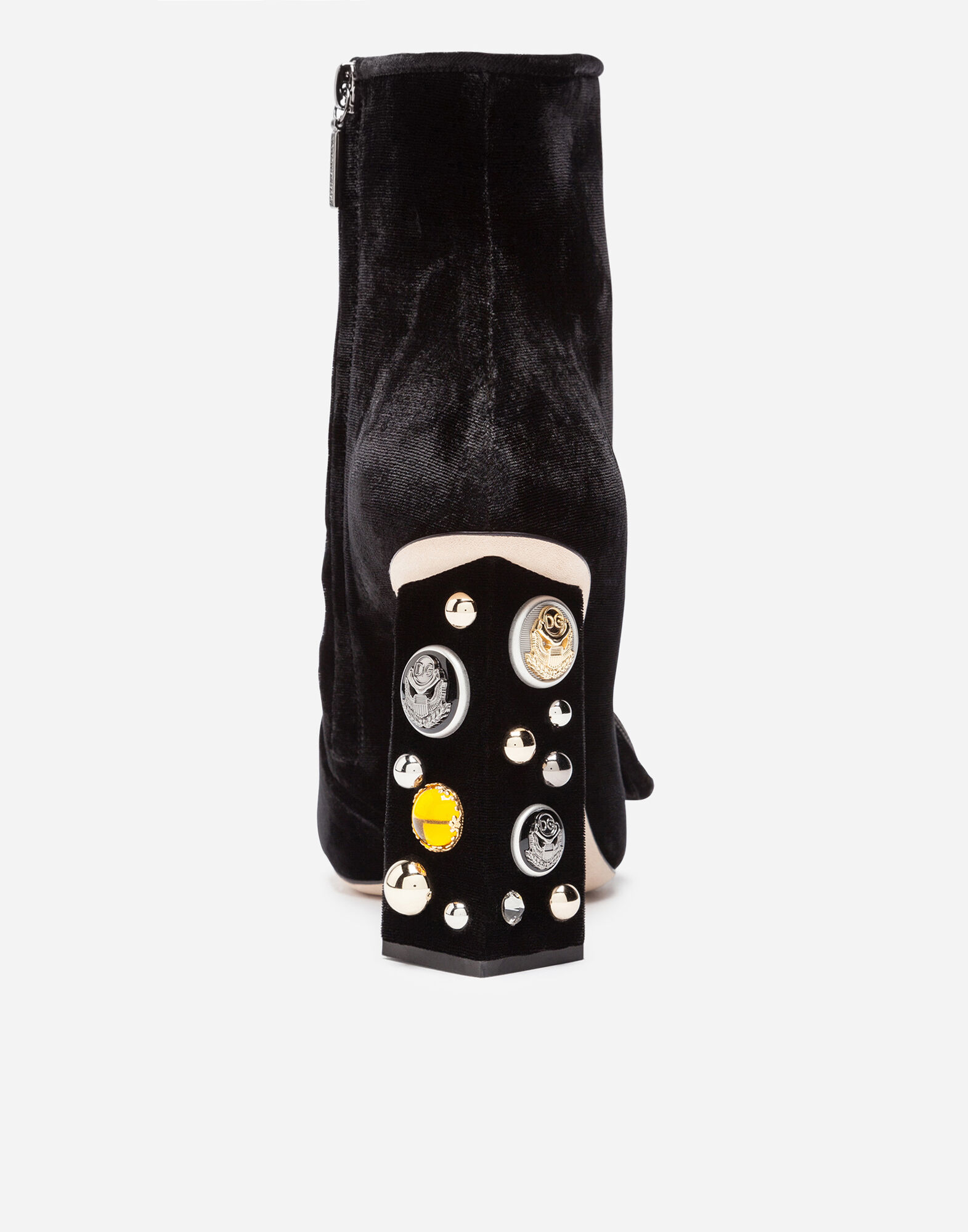 VELVET ANKLE BOOTS WITH BEJEWELED HEELS