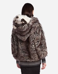 FAUX FUR JACKET WITH PATCH