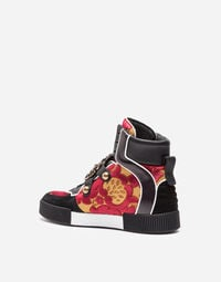 HIGH-TOP BROCADE AND LEATHER SNEAKERS