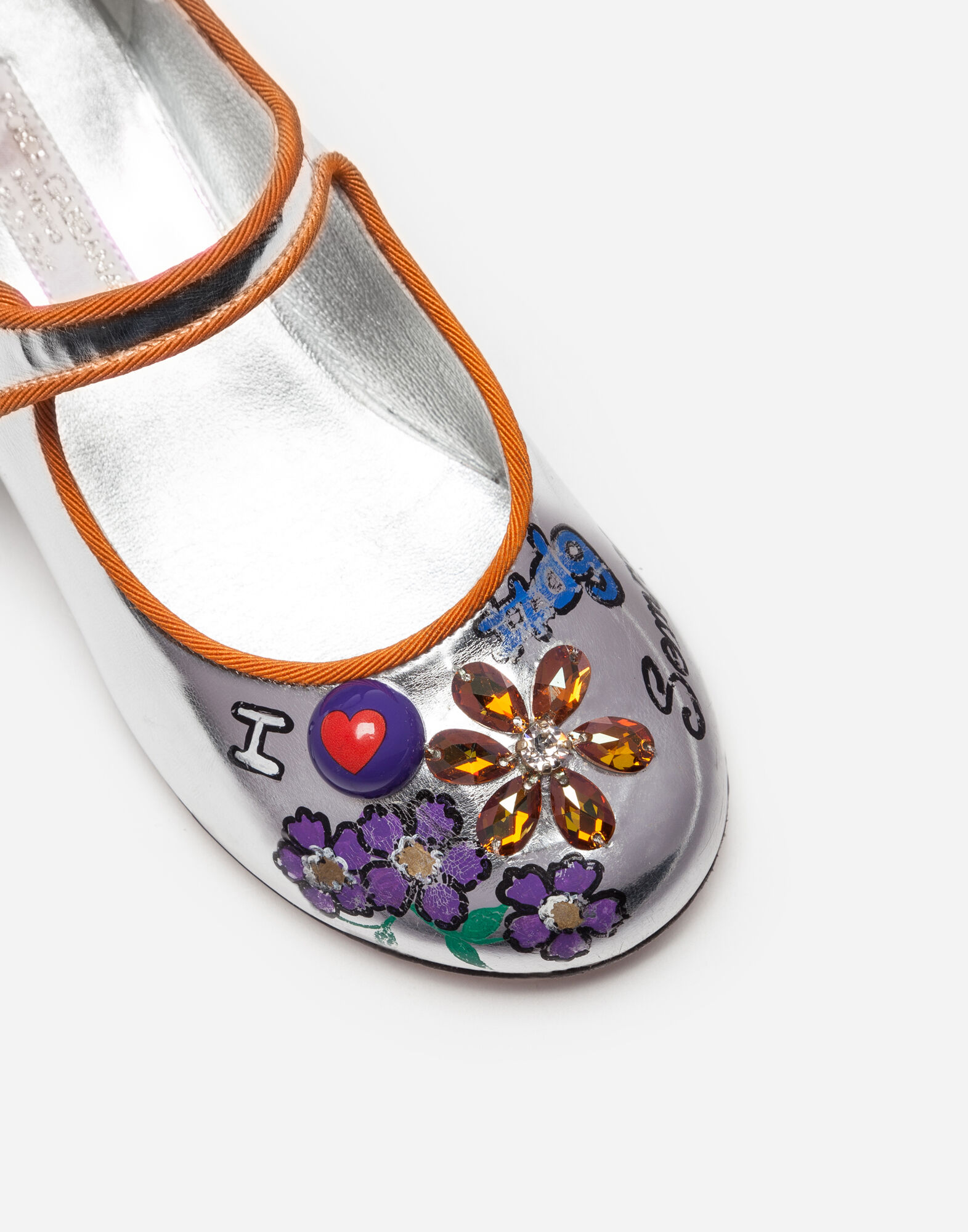 Dolce&Gabbana LAMINATED LEATHER BALLET FLATS WITH APPLIQUÉS