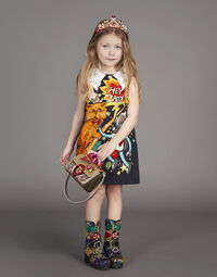 PRINTED BROCADE A-LINE DRESS WITH PATCHES