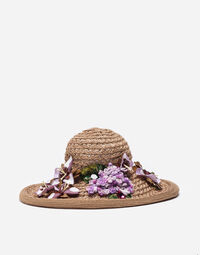 STRAW HAT WITH BEJEWELED APPLIQUÉ