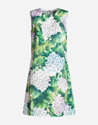 DRESS IN PRINTED BROCADE