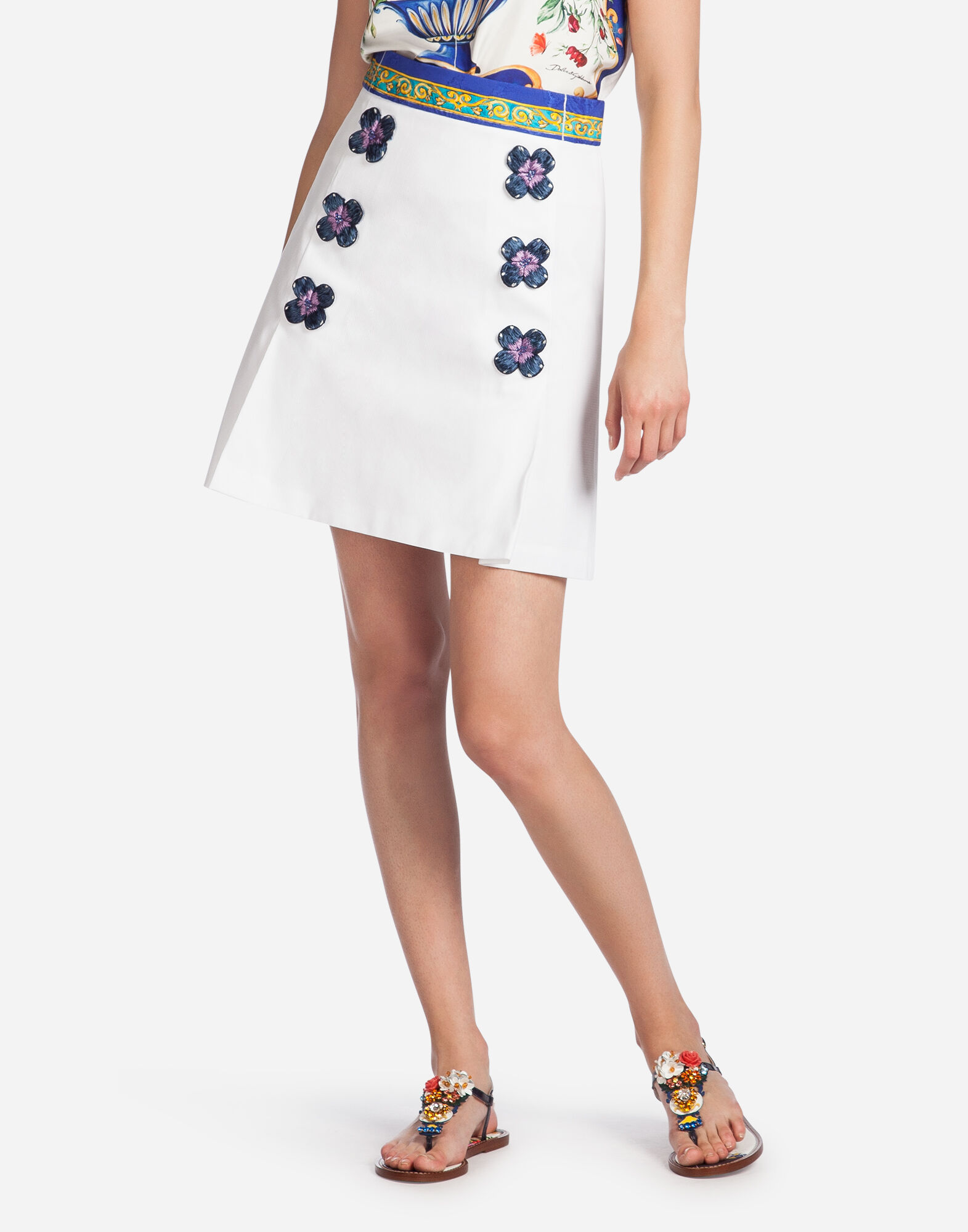 SKIRT IN COTTON WITH DECORATIVE FLOWERS